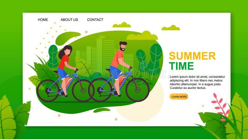 SommarTid bokstäver och cyklistlandningsida royaltyfri illustrationer