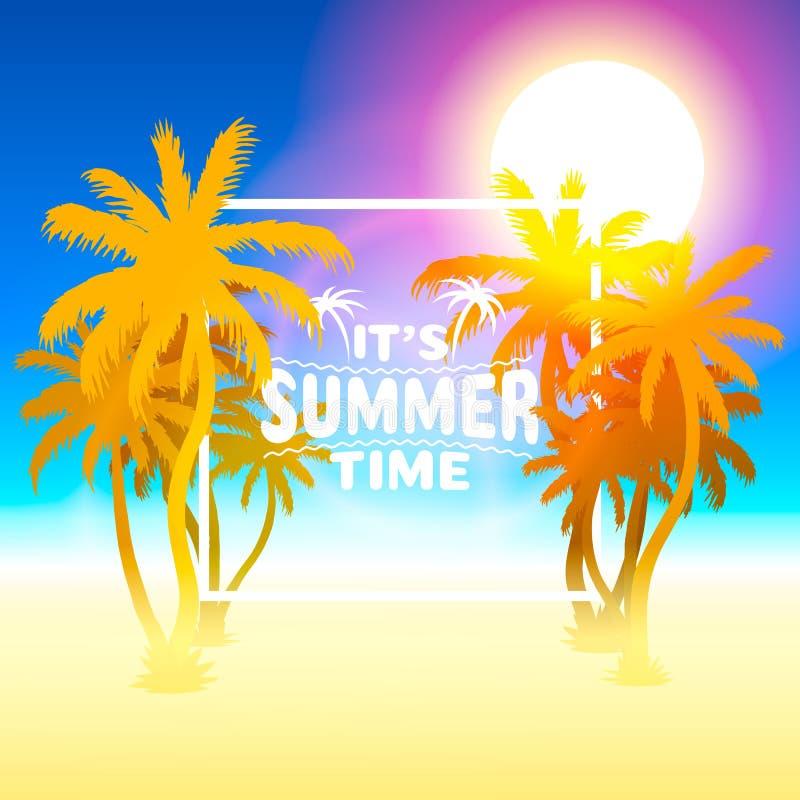 Sommartid, design f?r ferier?kningsbaner, best?ndsdelar i himmelbakgrund royaltyfri illustrationer