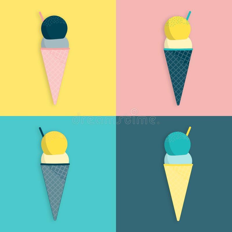 Sommartid - glass vektor illustrationer