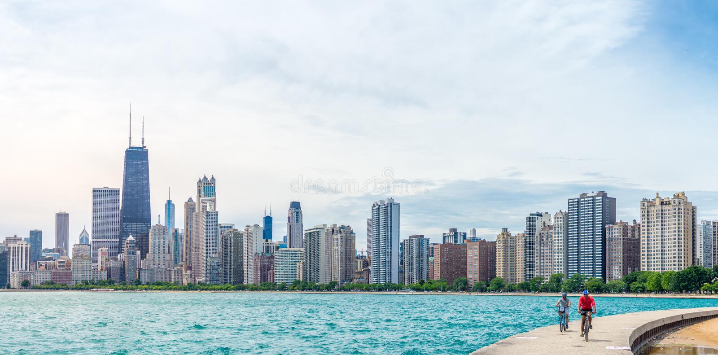 Sommartid i Chicago royaltyfria bilder
