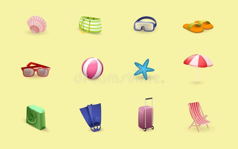 Sommartid kopplar av vektorillustrationuppsättningen Handelsresandeobjekt, badort, strandtillbehör som isoleras på guling royaltyfri illustrationer