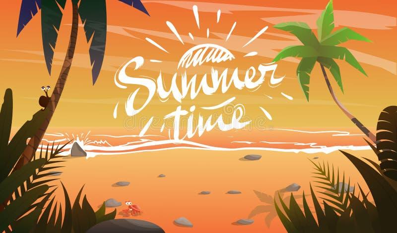 Sommartid på havkust royaltyfri illustrationer