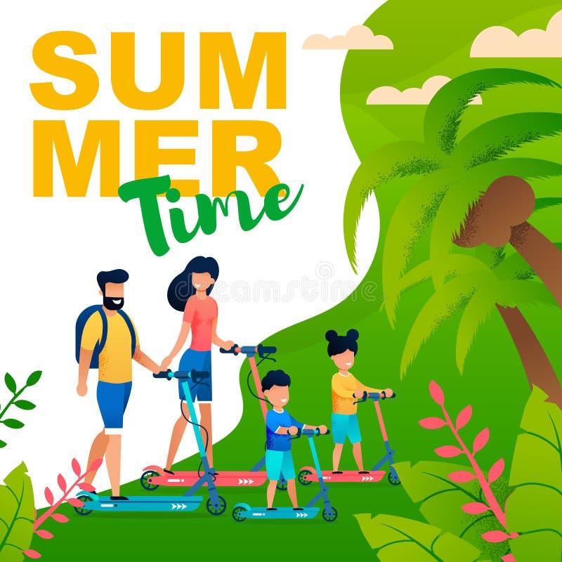 SommarTid plan affisch med familjen på sparkcyklar stock illustrationer