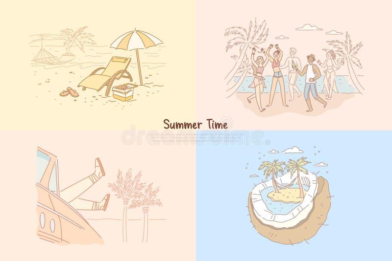 Sommartid, studenter som har strandpartiet, exotisk feriesemester, tropisk havssemesterort, rekreationbanermall royaltyfri illustrationer