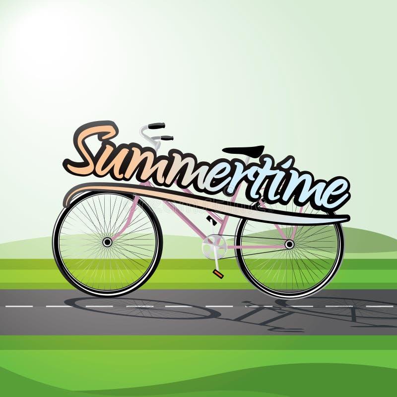 Sommartidaffisch med cykeln stock illustrationer