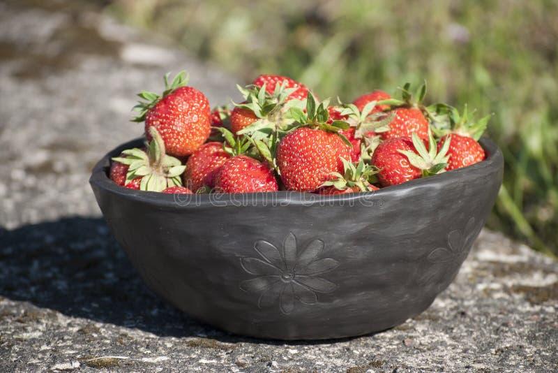 Sommartidcloseup av den unika handgjorda svarta bunken av lera och nya jordgubbar royaltyfria foton