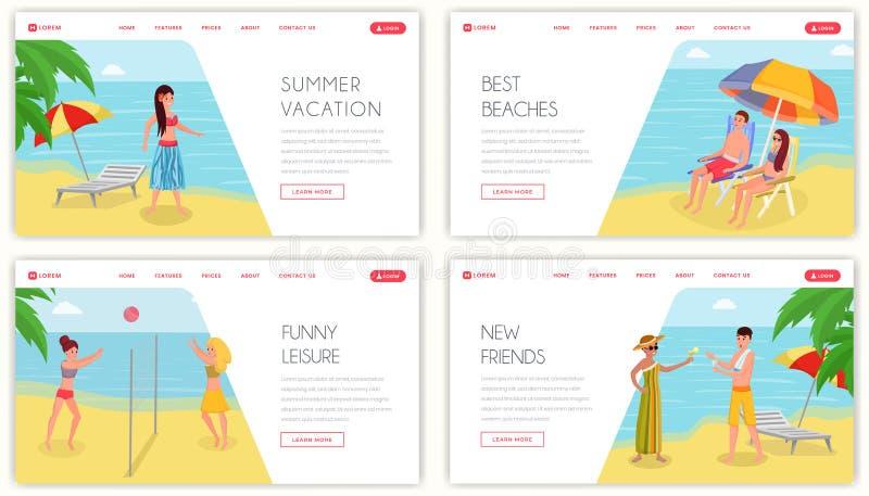 Sommartidferiesemesterort som landar sidamodellen Tropiska ösemesteraktiviteter och uppsättning för website för fritidvektor plan royaltyfri illustrationer