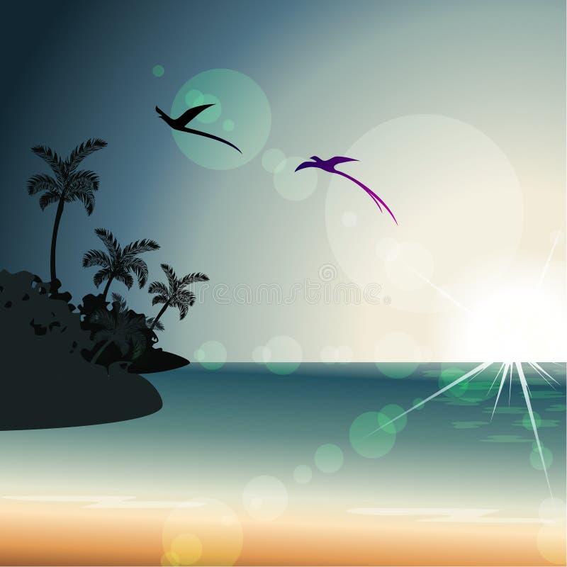 Sommartidsolnedgång med stordior royaltyfri illustrationer