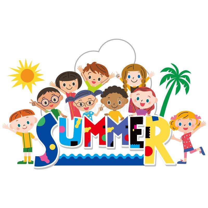 Sommartitel och barn royaltyfri illustrationer