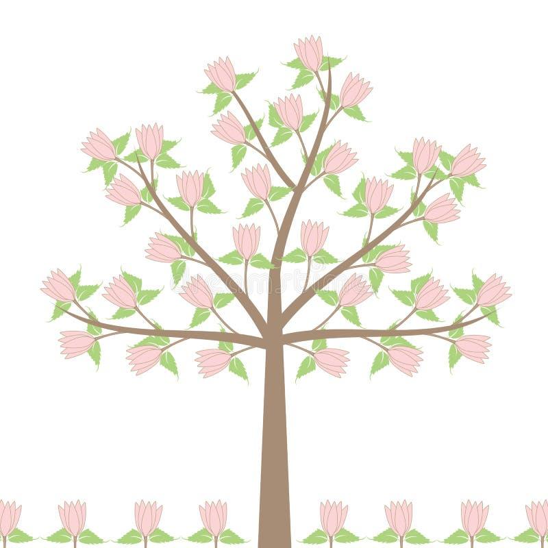 sommartree royaltyfri illustrationer