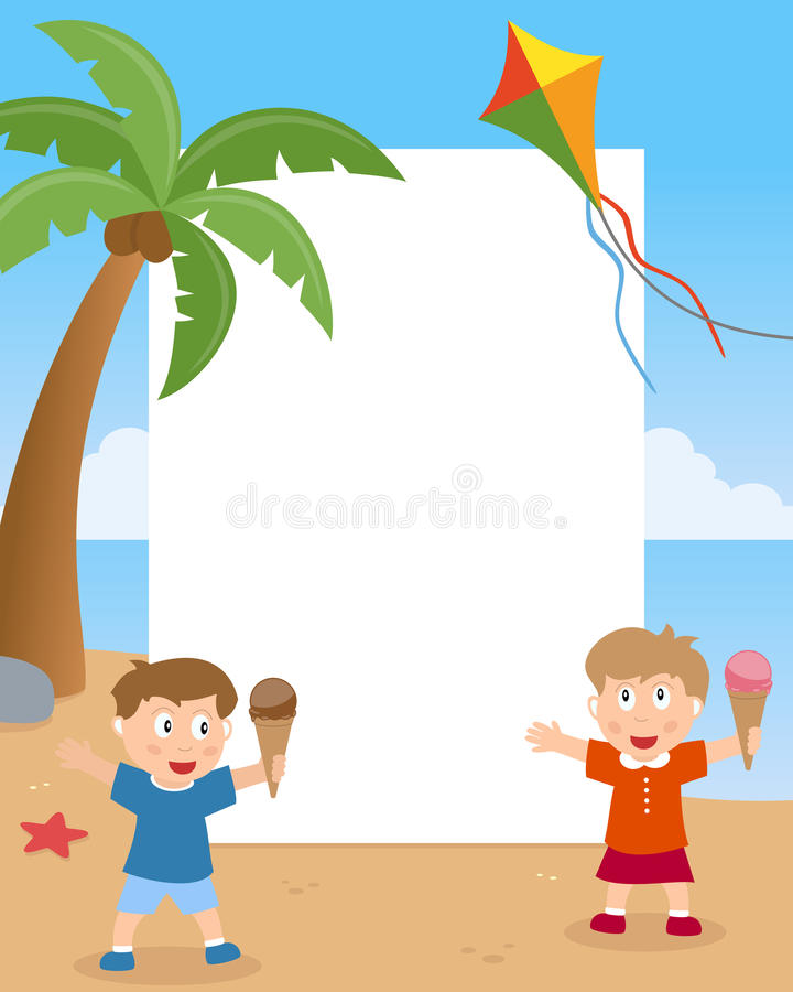 Sommarungar på strandfotoramen stock illustrationer