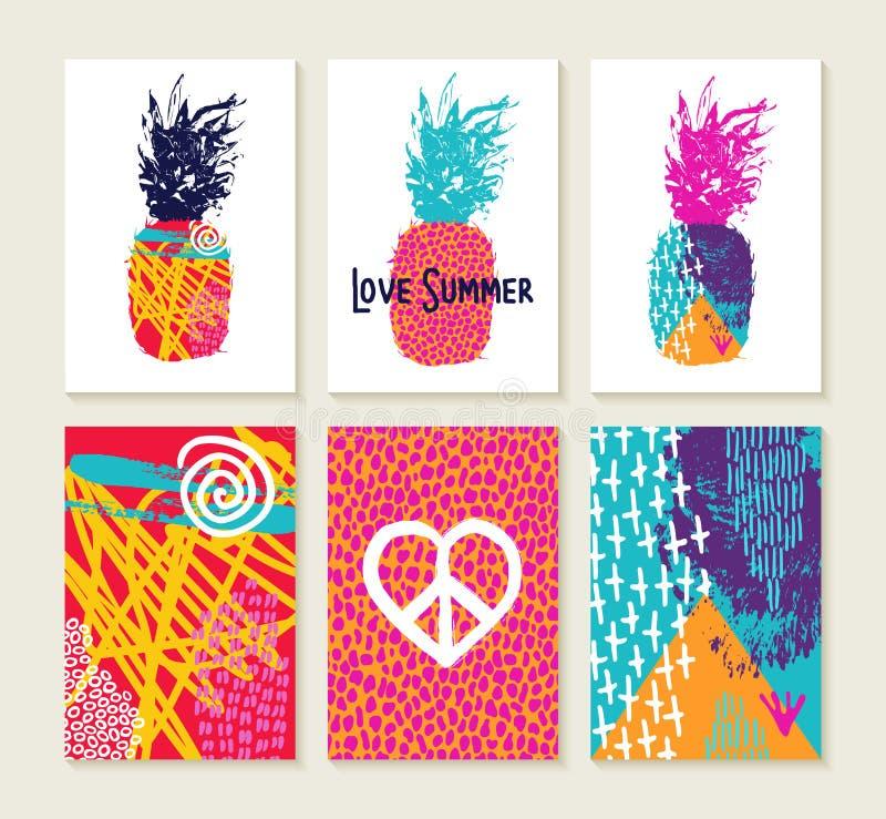 Sommaruppsättning av den färgrika lyckliga designen med ananas vektor illustrationer