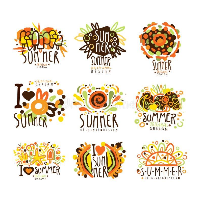Sommaruppsättning för etikettdesign Sommarlopp, hav, strand, ferie, affärsföretagvektorillustrationer vektor illustrationer
