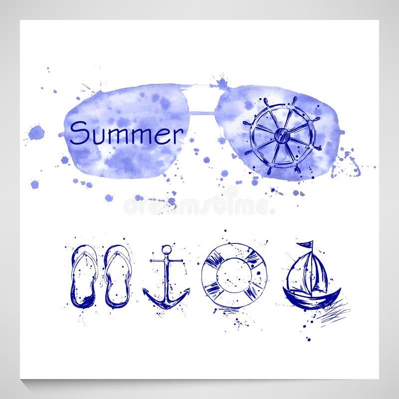 Sommaruppsättning med solglasögon, roder, ankare, skepp, räddningslina royaltyfri illustrationer