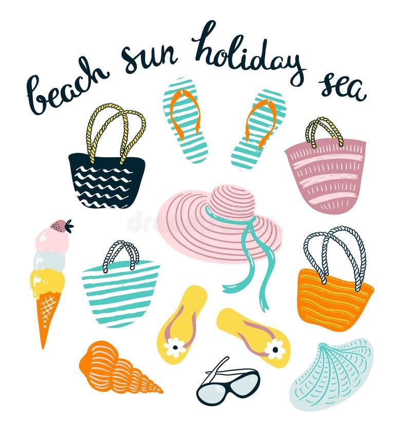Sommaruppsättning med strandtillbehör som isoleras på den vita bakgrunden stock illustrationer