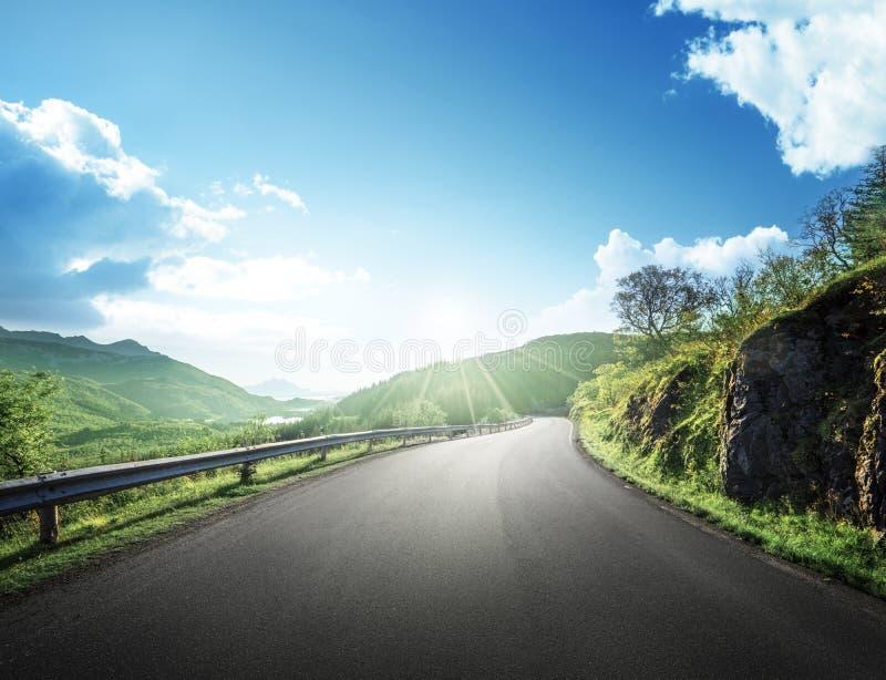 Sommarväg i berget, Lofoten öar royaltyfria bilder