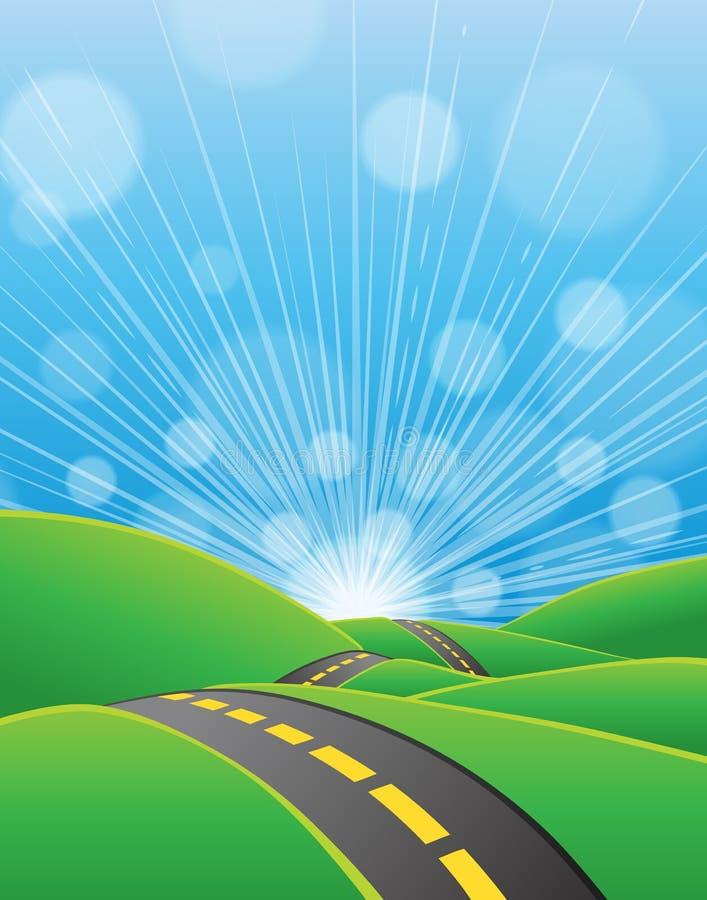 Sommarvägbakgrund royaltyfri illustrationer