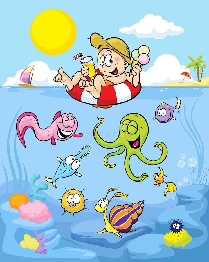 Sommarvälbefinnande med den roliga pojken och havsdjur royaltyfri illustrationer