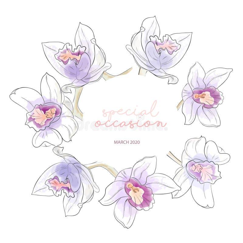 Sommarvattenfärgkrans med den violetta orange orkidéillustrationen Utdragen botanisk konst för hand med vårgarnering runt royaltyfri illustrationer