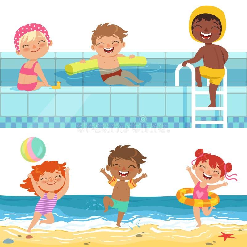 Sommarvattenlekar i aquapark Tecknad filmillustrationer av roliga ungar stock illustrationer