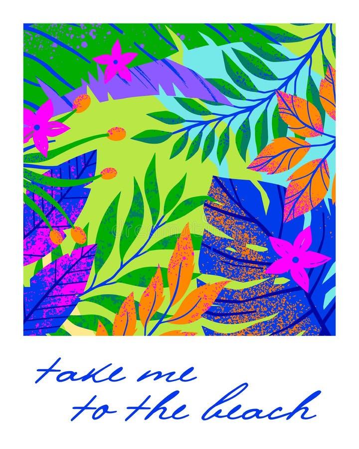 Sommarvektorillustration med tropiska sidor, blommor och beståndsdelar arkivfoton