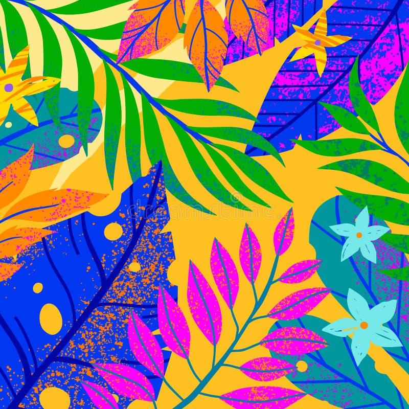Sommarvektorillustration med tropiska sidor, blommor och beståndsdelar royaltyfri foto
