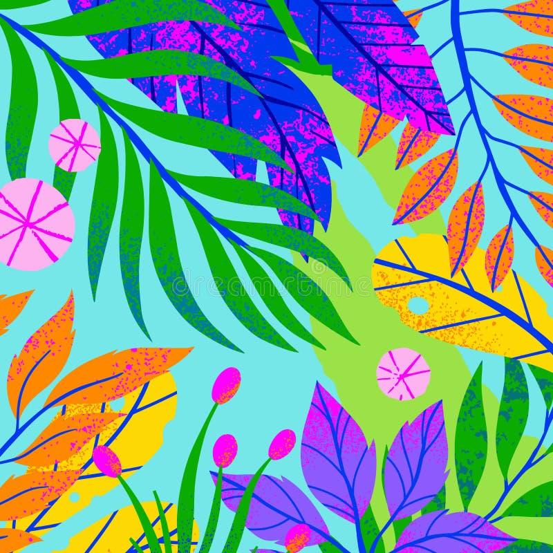 Sommarvektorillustration med tropiska sidor, blommor och beståndsdelar arkivbild
