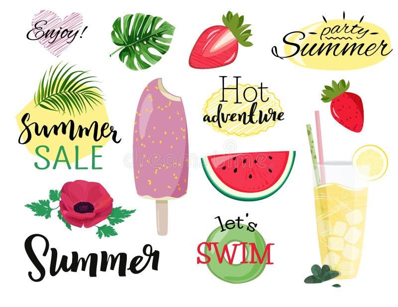 Sommarvektorsamling Ställ in av utdragna bilder glass, lemonad, vattenmelon, sommarförsäljningen, anemonblomma för handen royaltyfri illustrationer