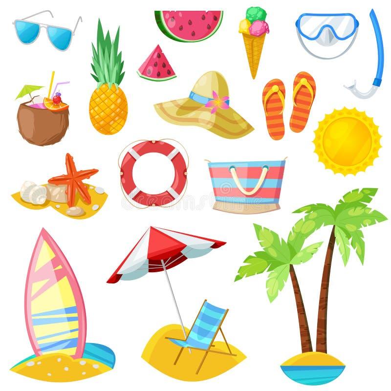 Sommarvektorsymboler och designbeståndsdelar som isoleras på vit bakgrund Lopp, turism och semesterillustration royaltyfri illustrationer