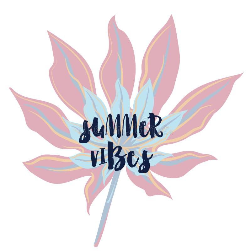 Sommarvibes, vektormodetryck med det tropiska bladet i rosa färger Lynne begreppsmässig design för känsla, vattenfärgstil royaltyfri illustrationer