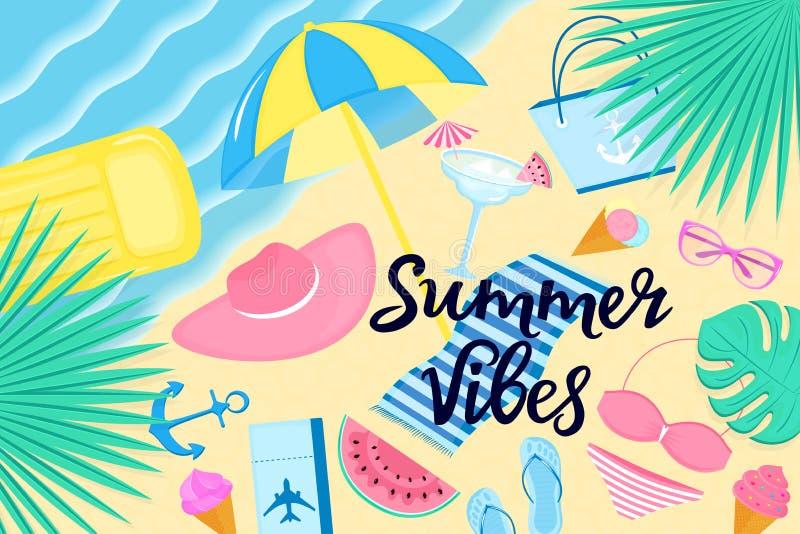 Sommarvibesbaner Strandsemester på en tropisk ö Kl?der och tillbeh?r f?r kvinna` s vektor illustrationer