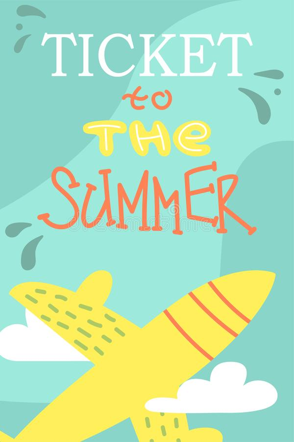 Sommarvykort med den gulliga nivån missbelåten illustration för pojketecknad film little vektor semestrar stock illustrationer