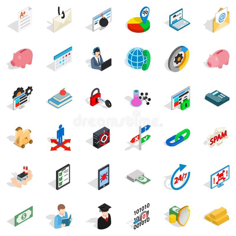 Somme d'argent d'icônes réglées, style isométrique illustration libre de droits