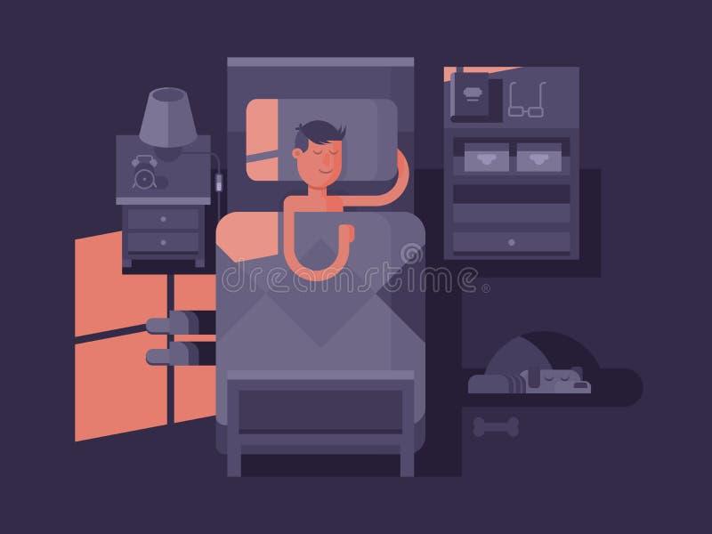 Sommeil d'homme dans le lit illustration stock