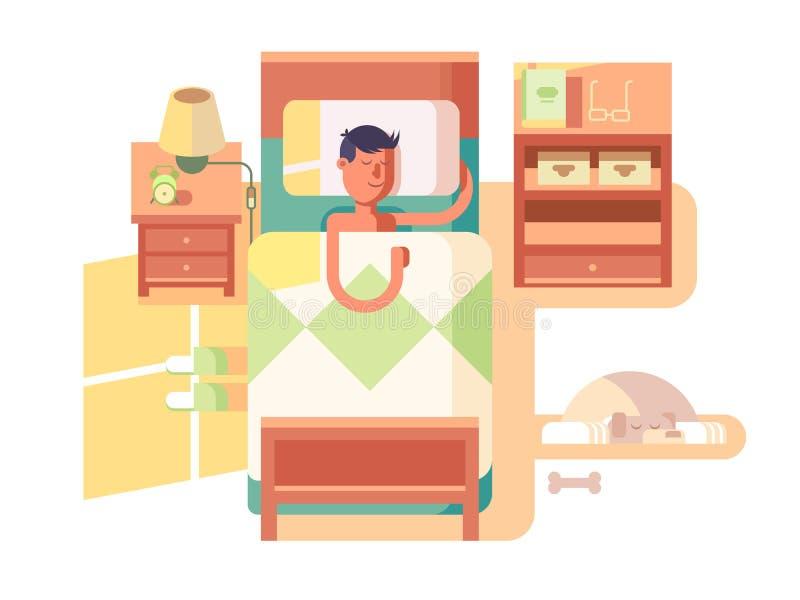 Sommeil d'homme dans le lit illustration de vecteur