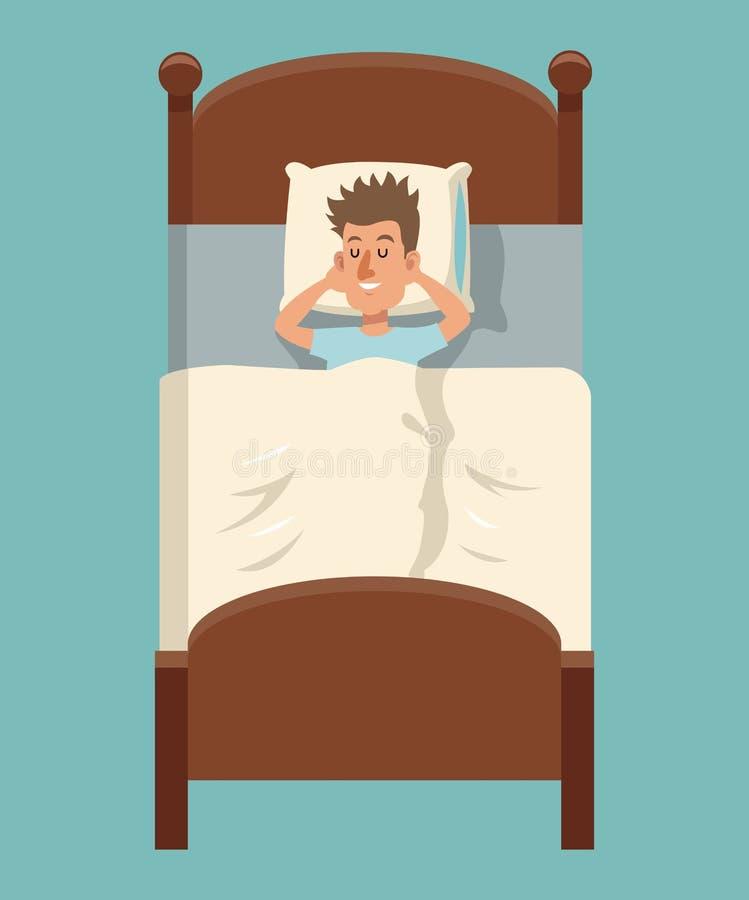 Sommeil d'homme de bande dessinée se situant dans le lit illustration stock
