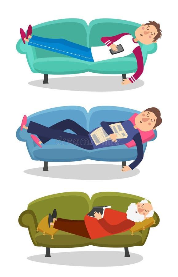 Sommeil d'homme sur l'illustration de vecteur de sofa Le sommeil de jeunes et vieux hommes couchent la personne de caractère illustration libre de droits