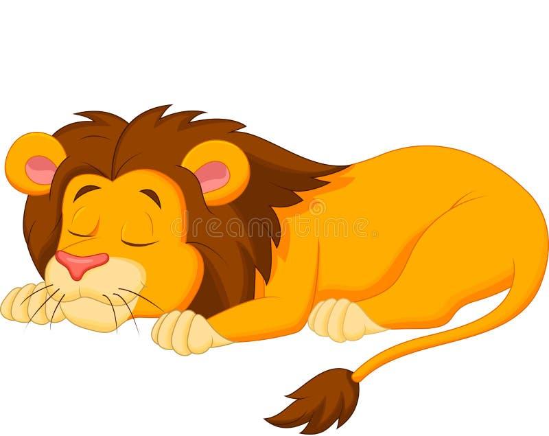 Sommeil de bande dessinée de lion illustration libre de droits