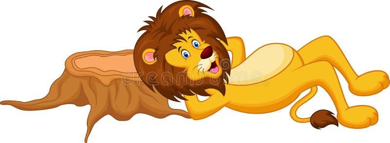 Sommeil de bande dessinée de lion illustration de vecteur