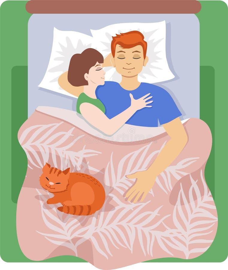 Sommeil de jeune homme, de femme et de chat à la maison dans le lit illustration libre de droits