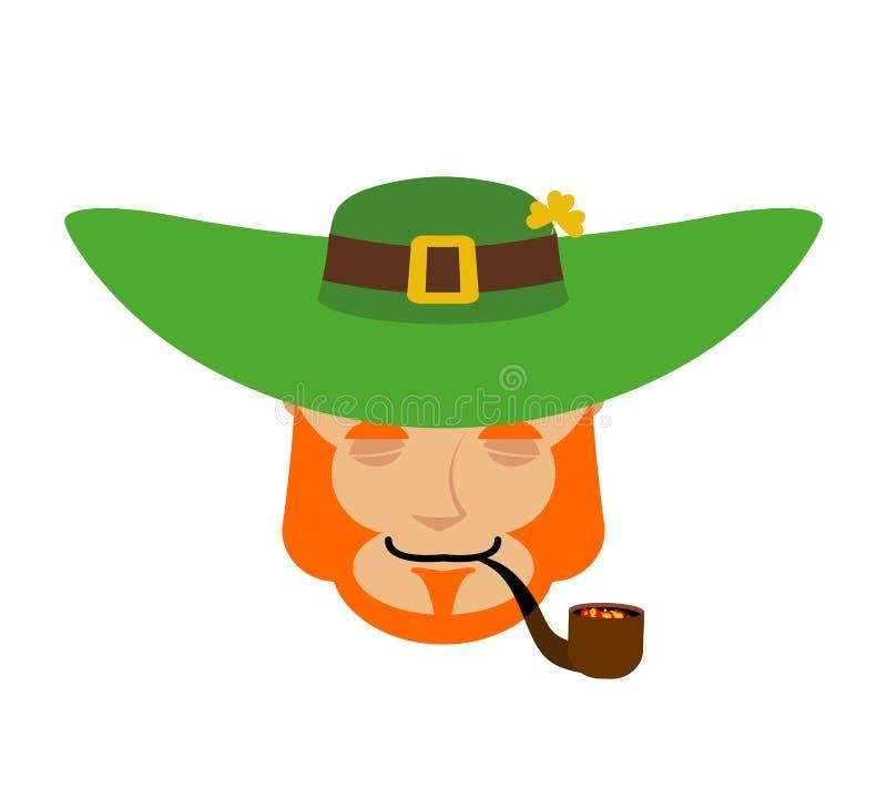 Sommeil de lutin Nain avec la barbe rouge Emoji endormi EL irlandais illustration libre de droits