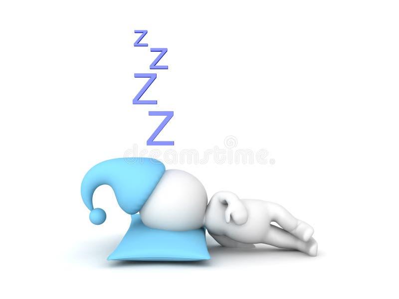 sommeil du caractère 3D illustration libre de droits