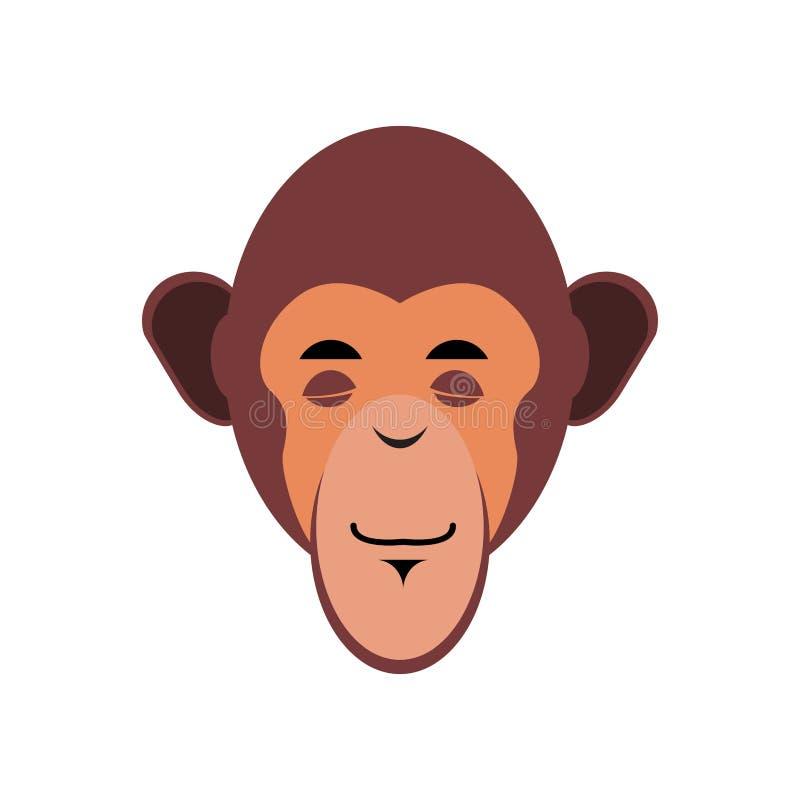 Sommeil Emoji de singe émotion endormie d'ouistiti Chimpan illustration de vecteur