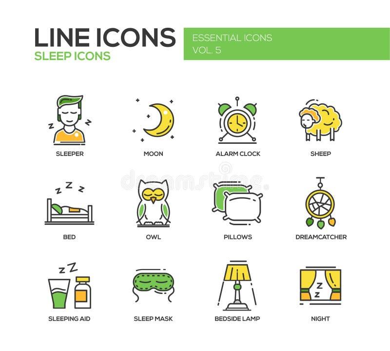 Sommeil - ligne icônes de conception réglées illustration libre de droits