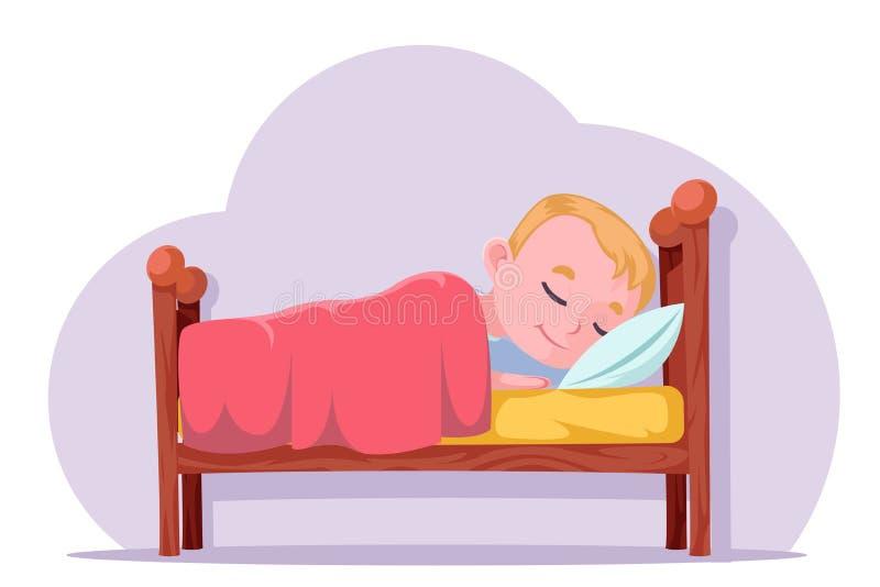 Sommeil mignon de garçon de bande dessinée dans la bonne illustration rêveuse de vecteur de caractère de repos de lit illustration stock