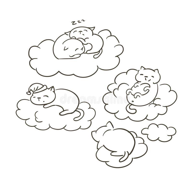 Sommeil mignon de nuages de rêves de livre de coloriage de sletch de vecteur de chat de griffonnage petit illustration libre de droits