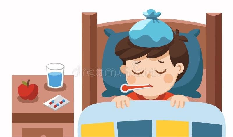 Sommeil mignon en difficulté de garçon dans le lit et sensation si mauvaise avec la fièvre illustration de vecteur