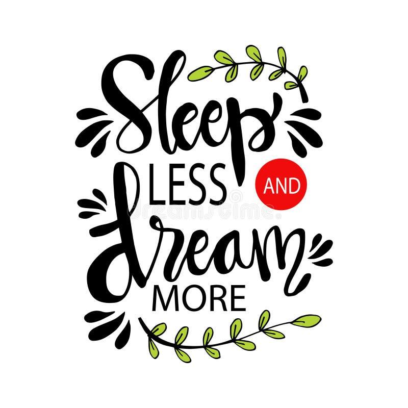 Sommeil moins le rêve davantage illustration stock