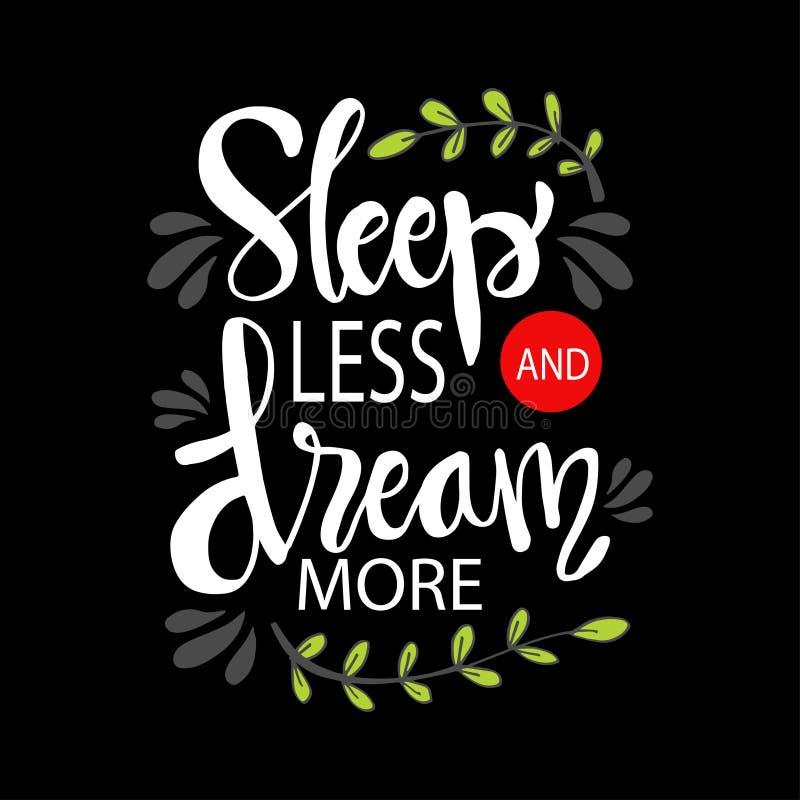 Sommeil moins le rêve davantage illustration libre de droits