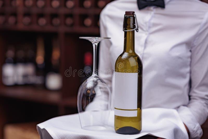 sommelier con el vino en sótano fotos de archivo libres de regalías